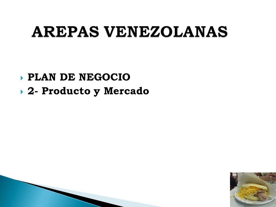 AREPAS VENEZOLANAS PLAN DE NEGOCIO 2- Producto y Mercado