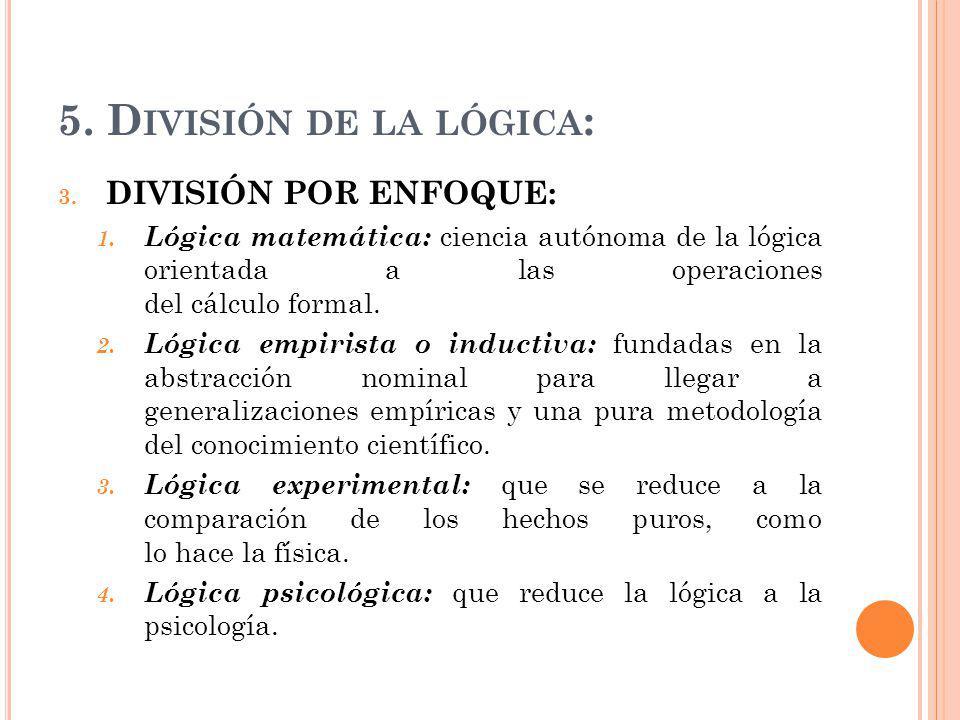 5. División de la lógica: DIVISIÓN POR ENFOQUE: