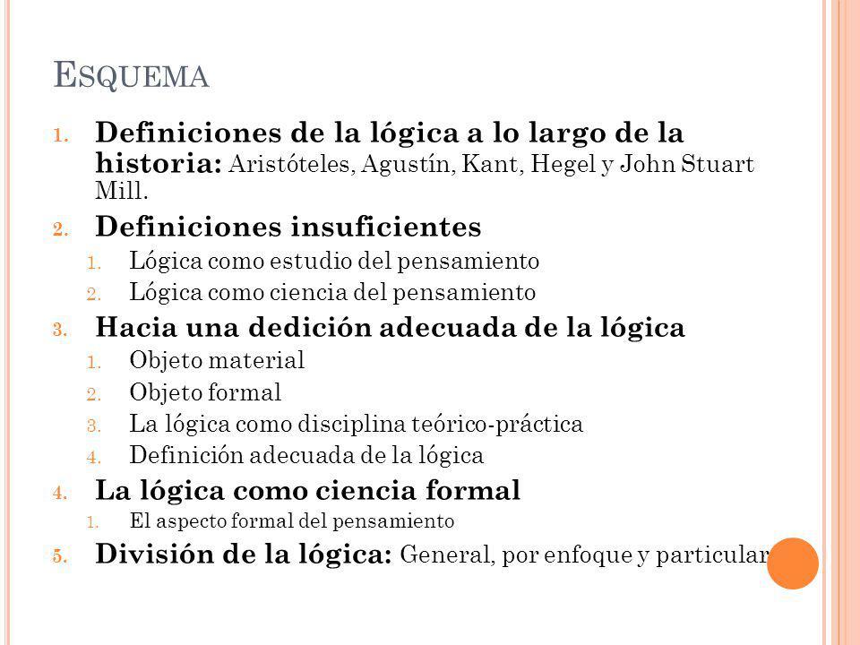 Esquema Definiciones de la lógica a lo largo de la historia: Aristóteles, Agustín, Kant, Hegel y John Stuart Mill.