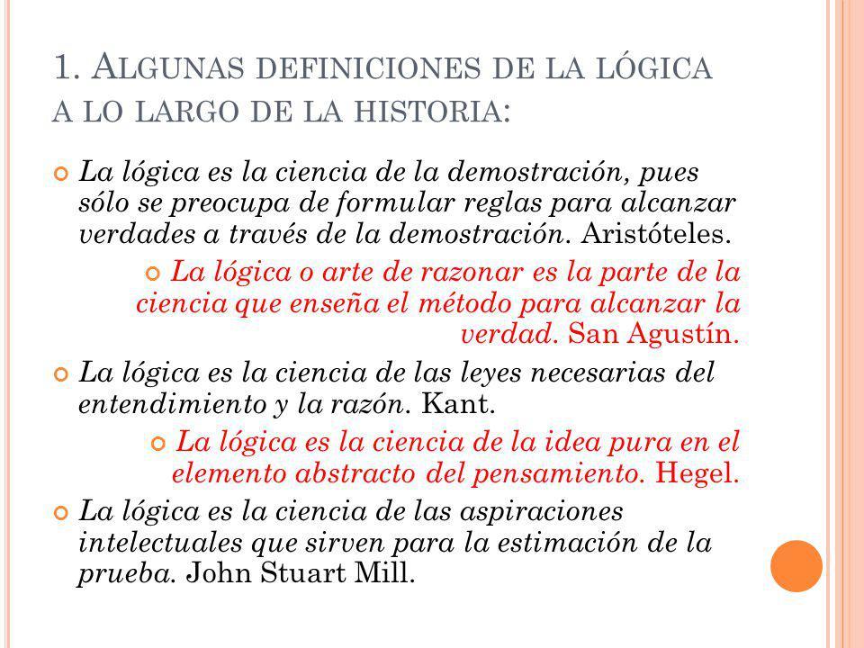 1. Algunas definiciones de la lógica a lo largo de la historia: