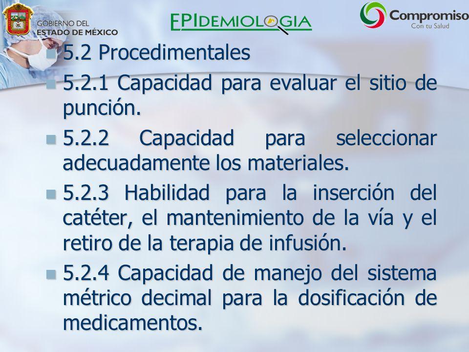 5.2 Procedimentales 5.2.1 Capacidad para evaluar el sitio de punción. 5.2.2 Capacidad para seleccionar adecuadamente los materiales.