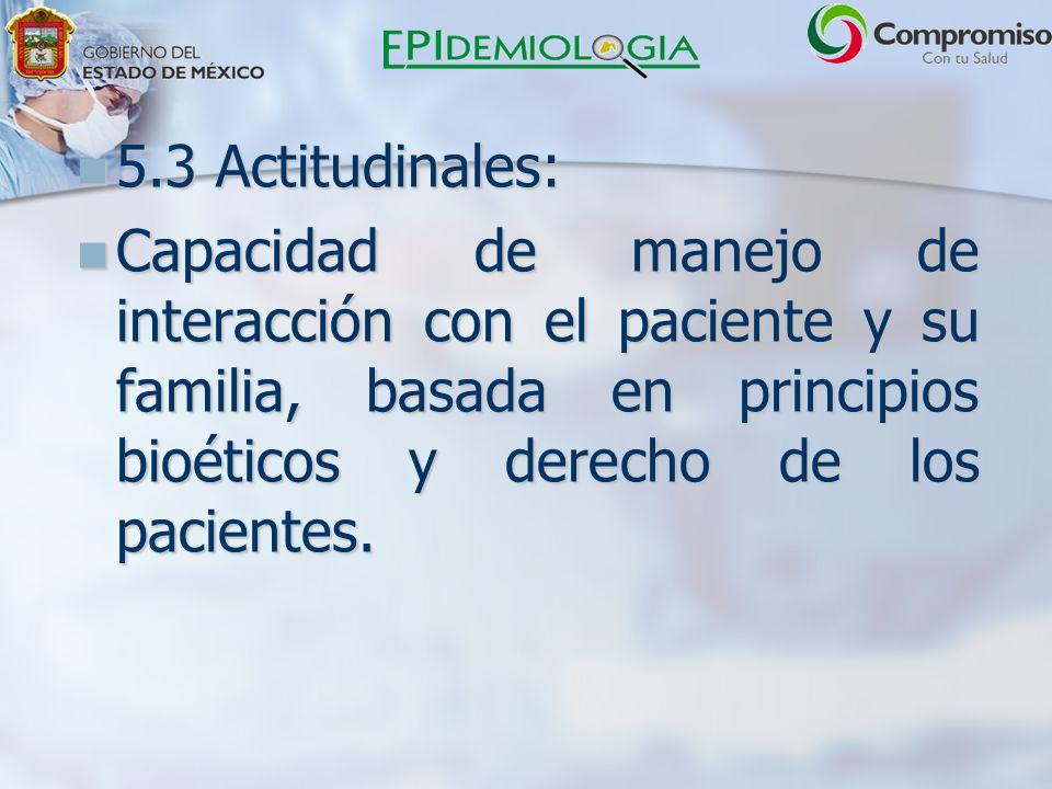 5.3 Actitudinales: Capacidad de manejo de interacción con el paciente y su familia, basada en principios bioéticos y derecho de los pacientes.