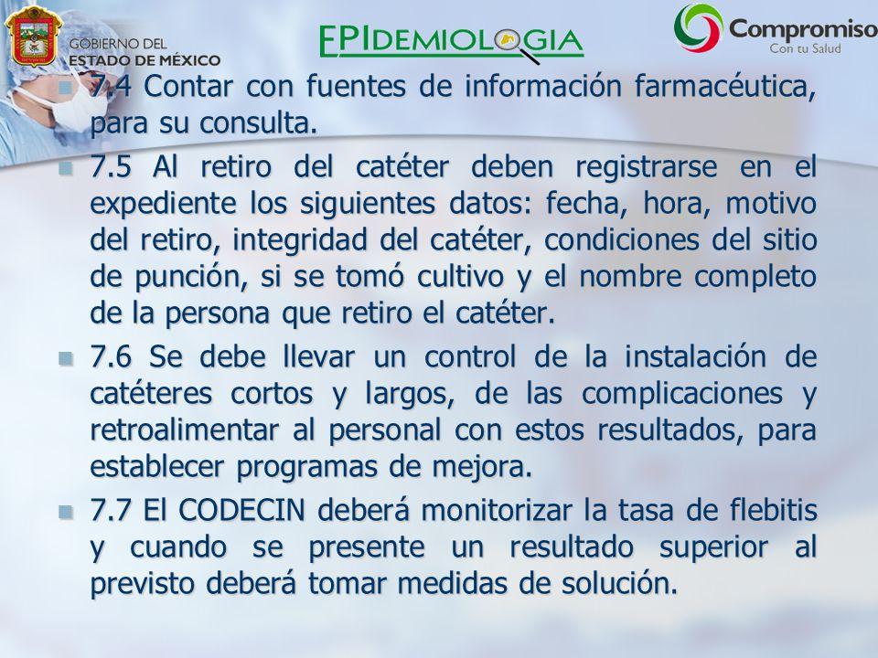 7.4 Contar con fuentes de información farmacéutica, para su consulta.