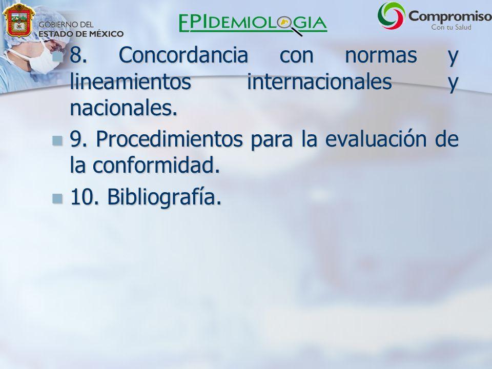 8. Concordancia con normas y lineamientos internacionales y nacionales.