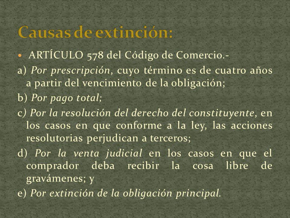 Causas de extinción: ARTÍCULO 578 del Código de Comercio.-