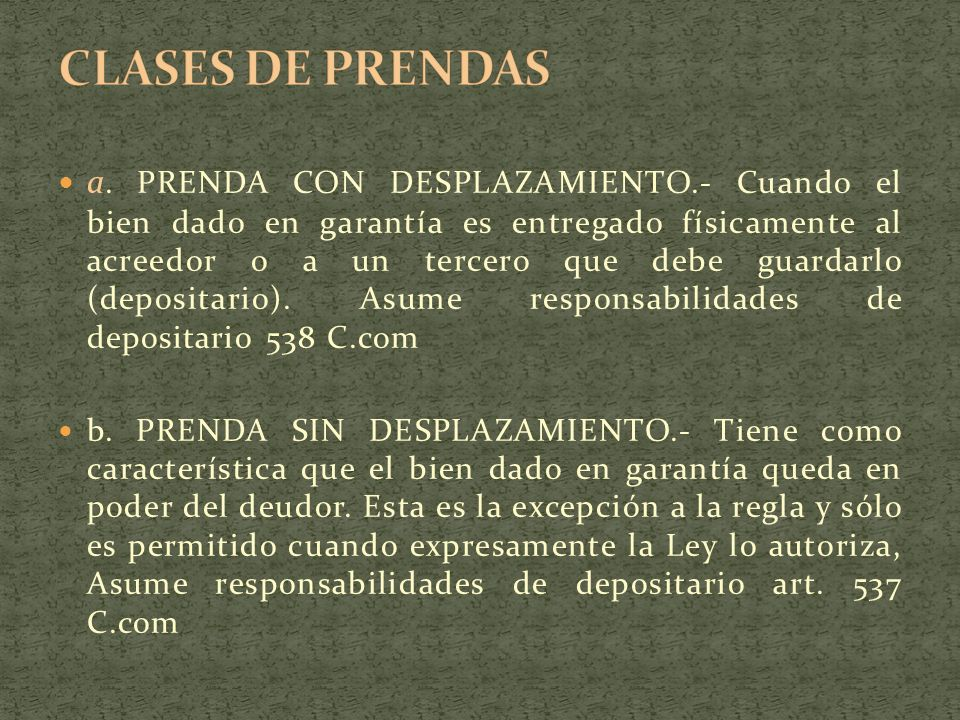 CLASES DE PRENDAS