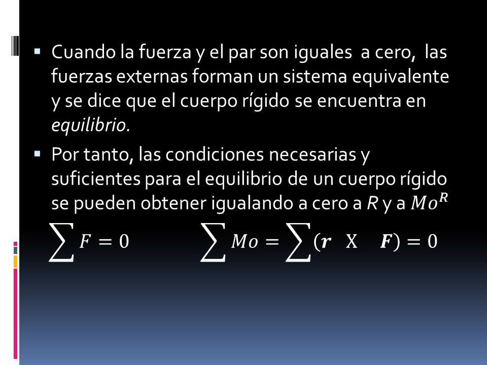 Cuando la fuerza y el par son iguales a cero, las fuerzas externas forman un sistema equivalente y se dice que el cuerpo rígido se encuentra en equilibrio.