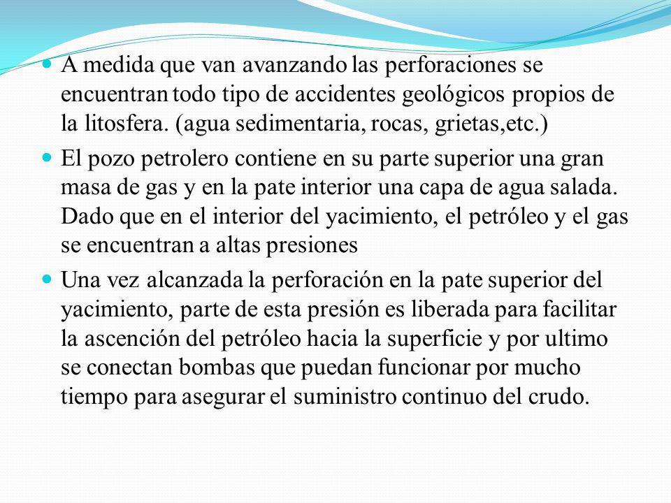 A medida que van avanzando las perforaciones se encuentran todo tipo de accidentes geológicos propios de la litosfera. (agua sedimentaria, rocas, grietas,etc.)