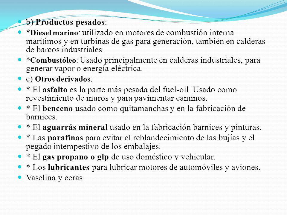 b) Productos pesados: