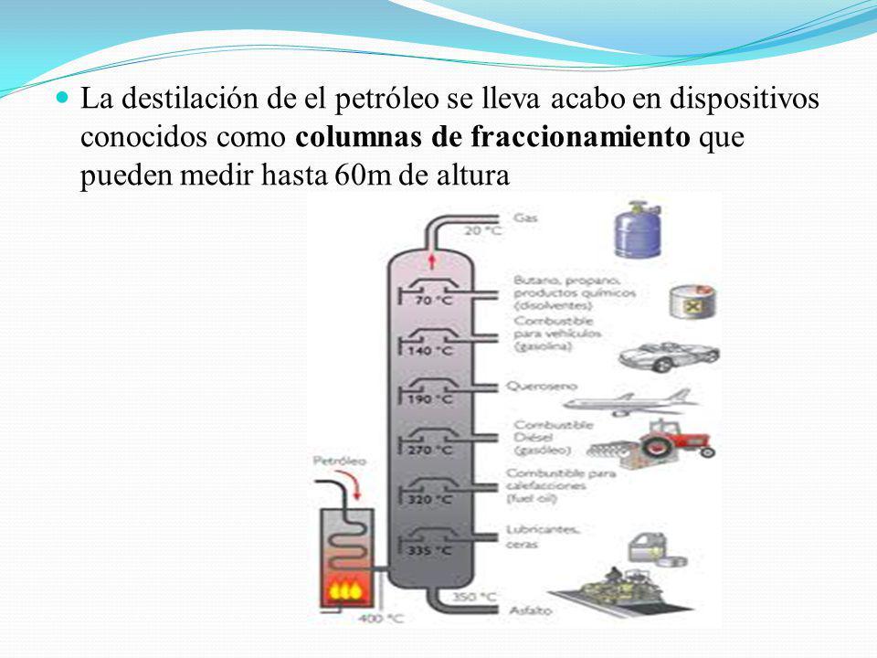 La destilación de el petróleo se lleva acabo en dispositivos conocidos como columnas de fraccionamiento que pueden medir hasta 60m de altura