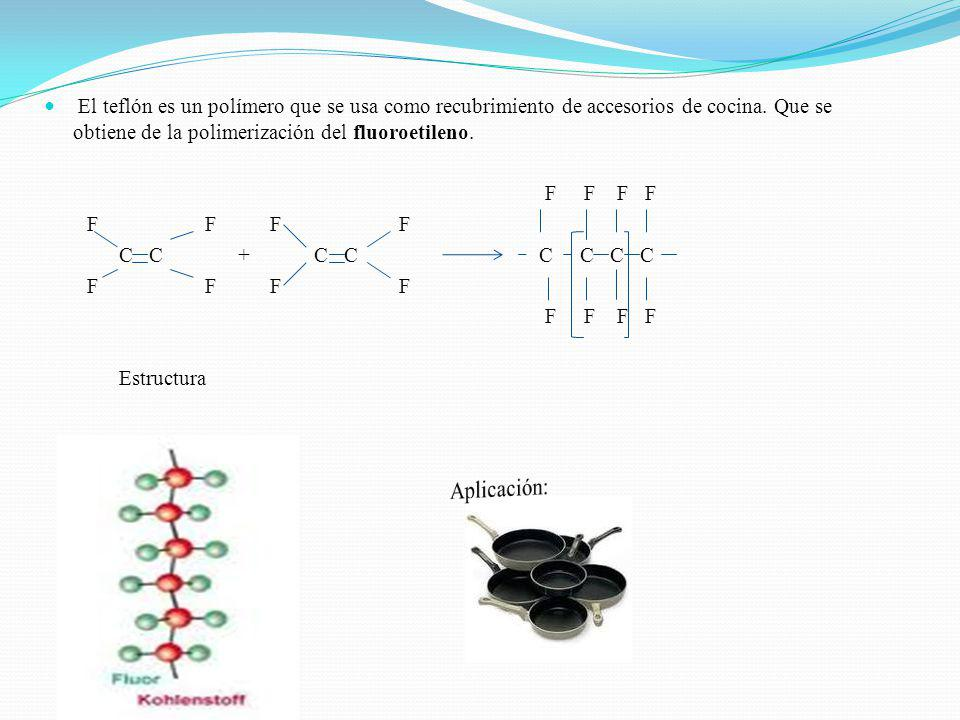 El teflón es un polímero que se usa como recubrimiento de accesorios de cocina. Que se obtiene de la polimerización del fluoroetileno.