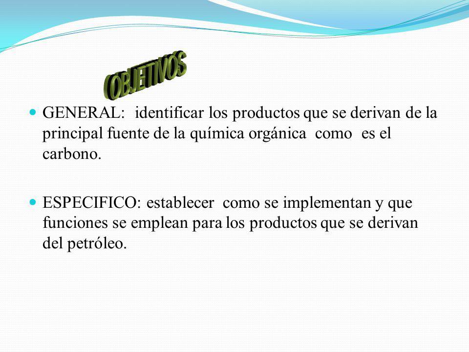 OBJETIVOS GENERAL: identificar los productos que se derivan de la principal fuente de la química orgánica como es el carbono.