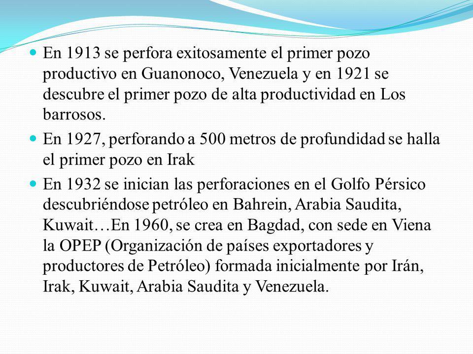 En 1913 se perfora exitosamente el primer pozo productivo en Guanonoco, Venezuela y en 1921 se descubre el primer pozo de alta productividad en Los barrosos.