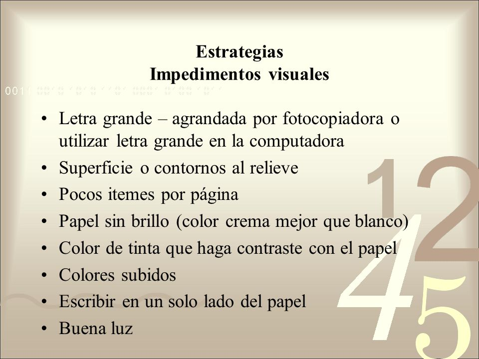Estrategias Impedimentos visuales