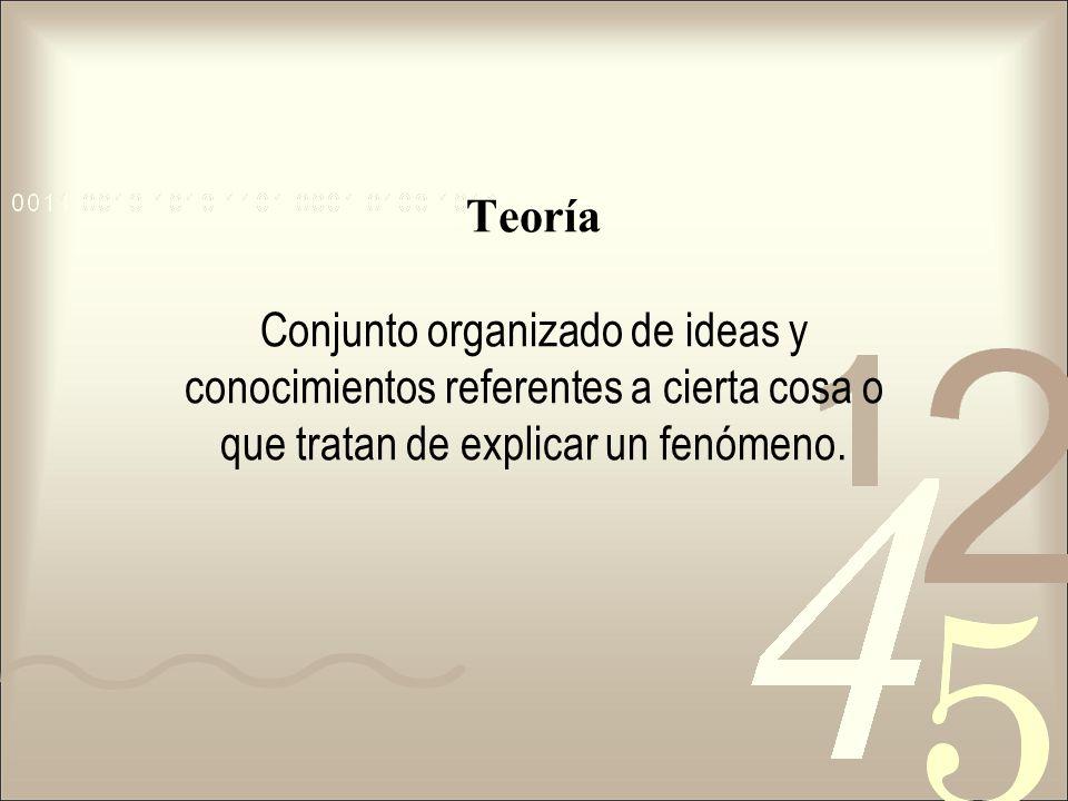 Teoría Conjunto organizado de ideas y conocimientos referentes a cierta cosa o que tratan de explicar un fenómeno.