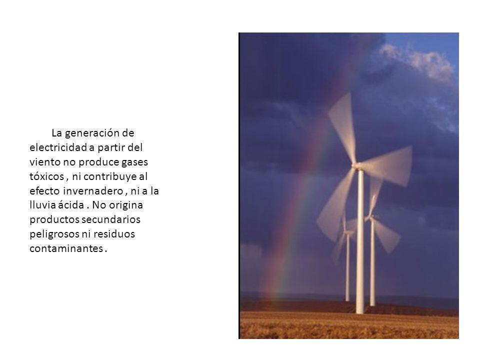 La generación de electricidad a partir del viento no produce gases tóxicos , ni contribuye al efecto invernadero , ni a la lluvia ácida .