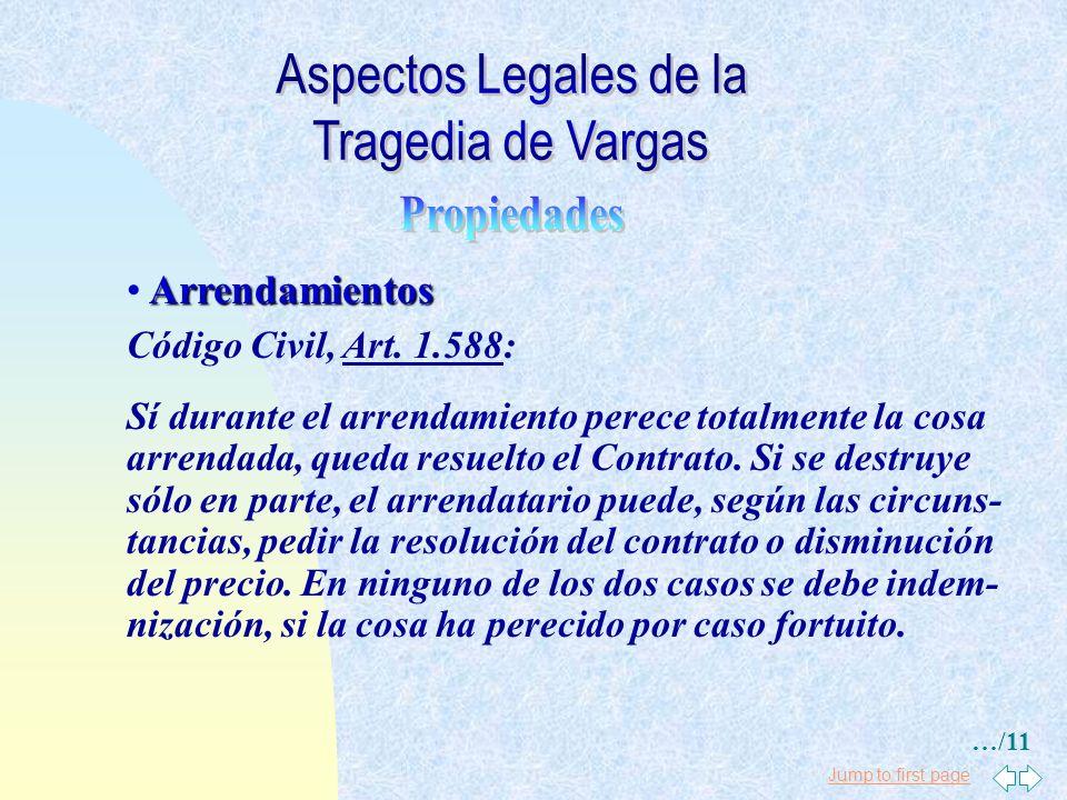 Aspectos Legales de la Tragedia de Vargas Propiedades Arrendamientos