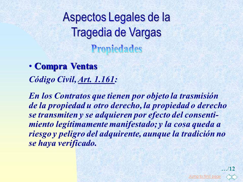 Aspectos Legales de la Tragedia de Vargas Propiedades Compra Ventas