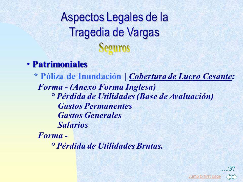 Aspectos Legales de la Tragedia de Vargas Seguros Patrimoniales