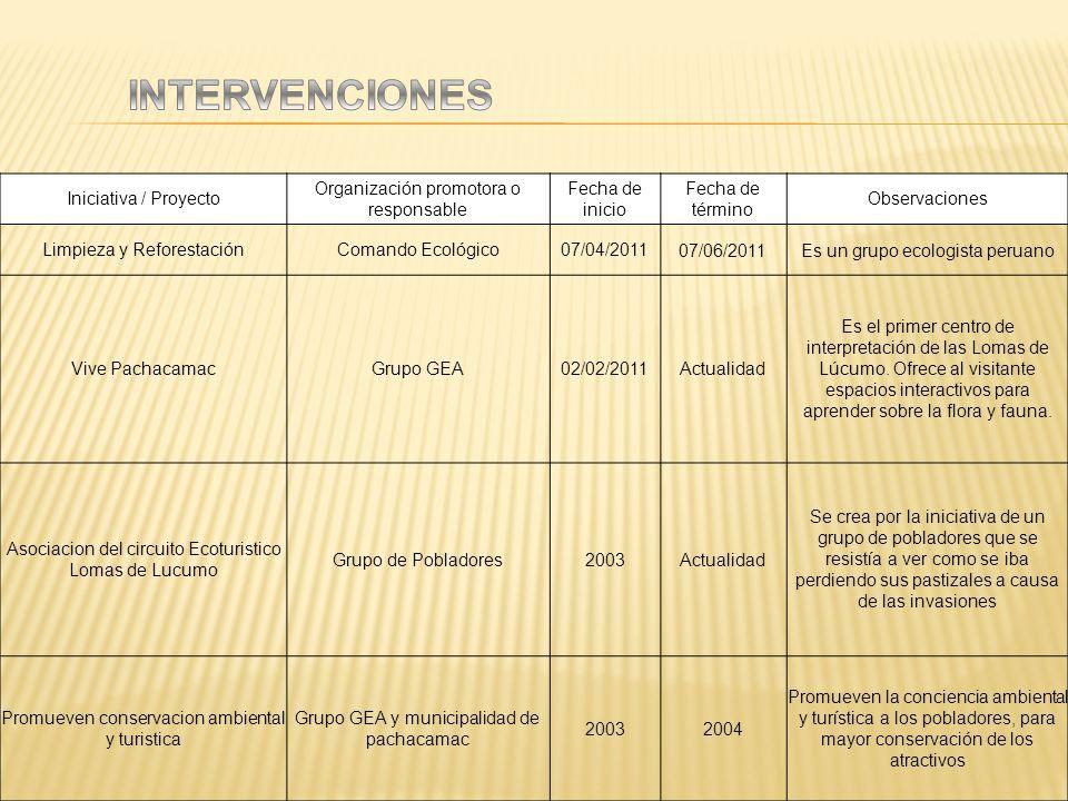 INTERVENCIONES Iniciativa / Proyecto