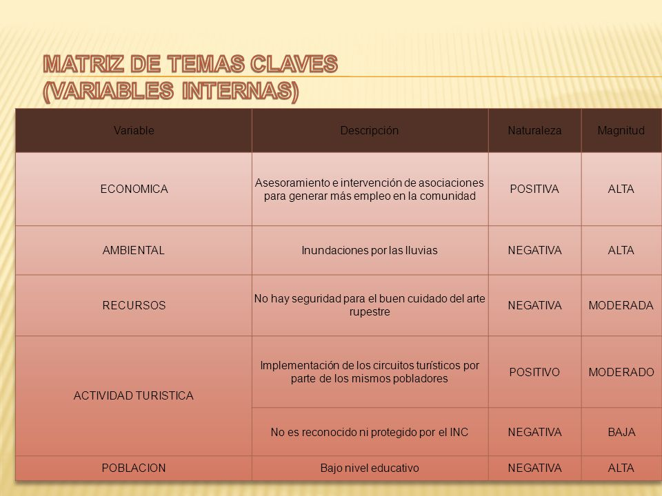 MATRIZ DE TEMAS CLAVES (VARIABLES INTERNAS) Variable Descripción