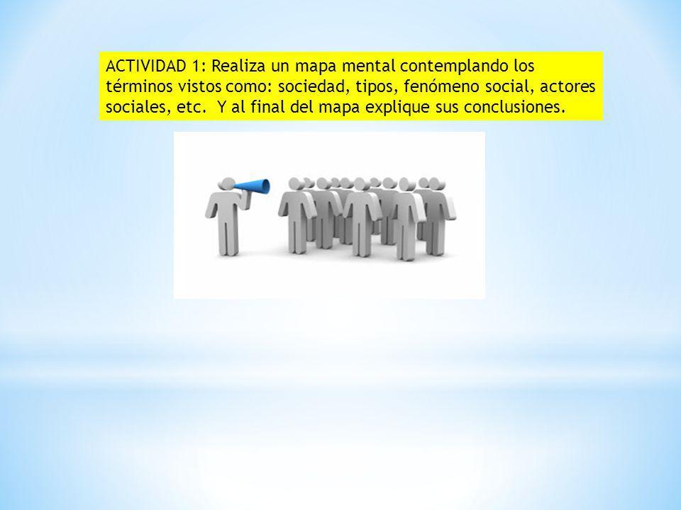 ACTIVIDAD 1: Realiza un mapa mental contemplando los términos vistos como: sociedad, tipos, fenómeno social, actores sociales, etc.
