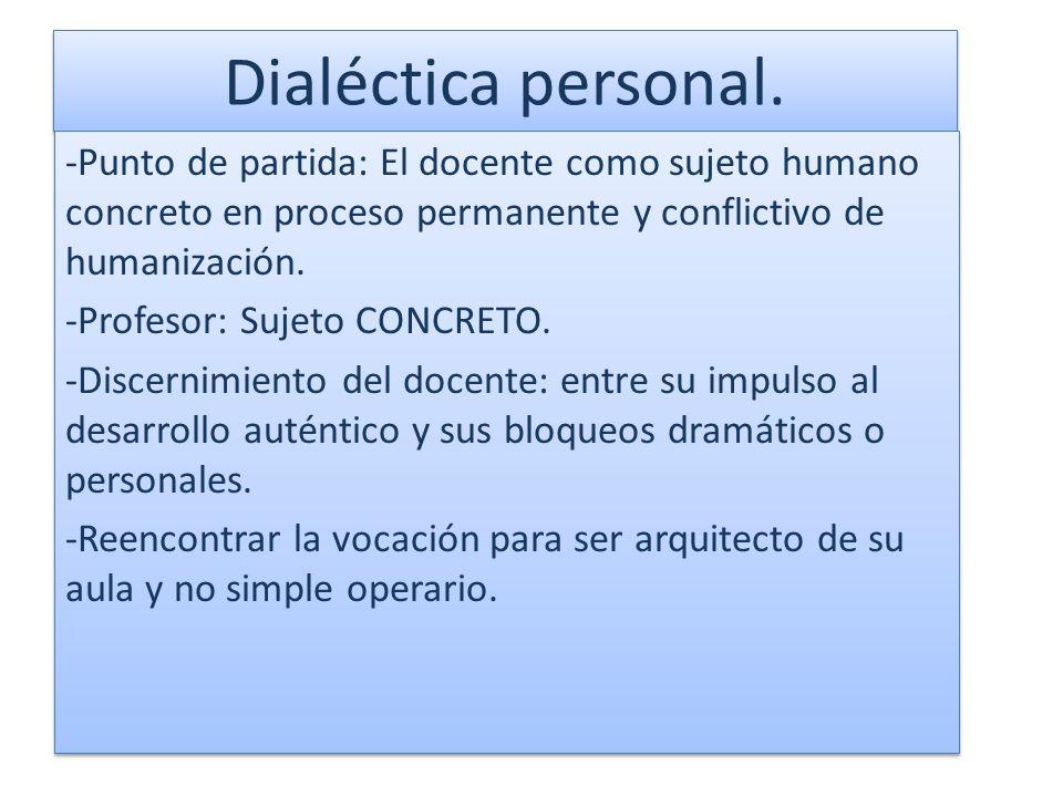 Dialéctica personal. -Punto de partida: El docente como sujeto humano concreto en proceso permanente y conflictivo de humanización.