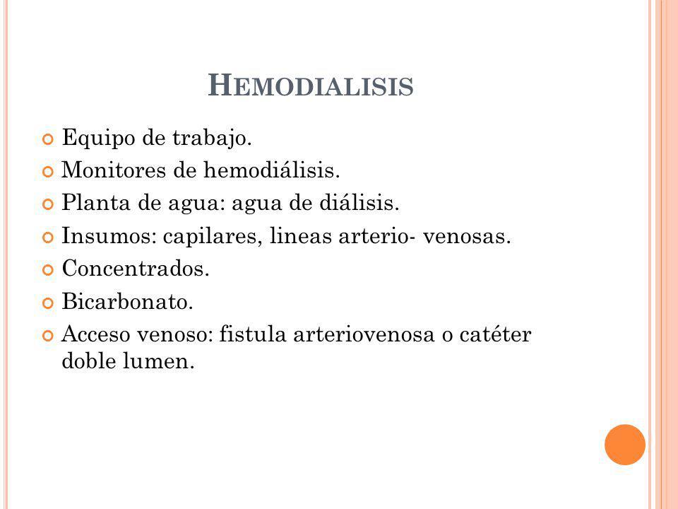 Hemodialisis Equipo de trabajo. Monitores de hemodiálisis.