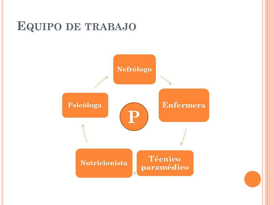 P Equipo de trabajo Enfermera Técnico paramédico Nefrólogo Psicóloga