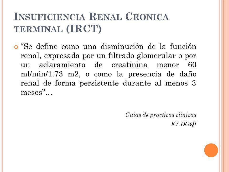 Insuficiencia Renal Cronica terminal (IRCT)