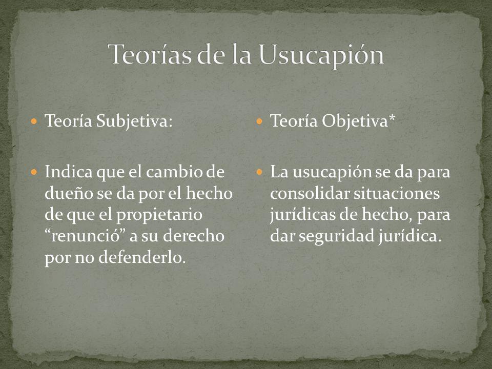 Teorías de la Usucapión