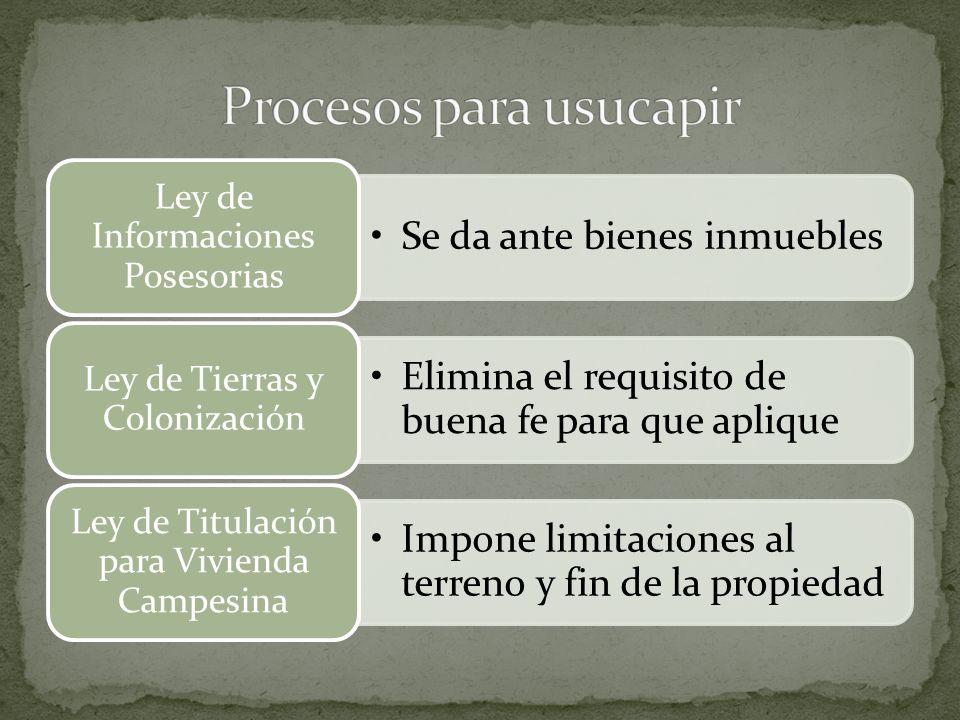 Procesos para usucapir