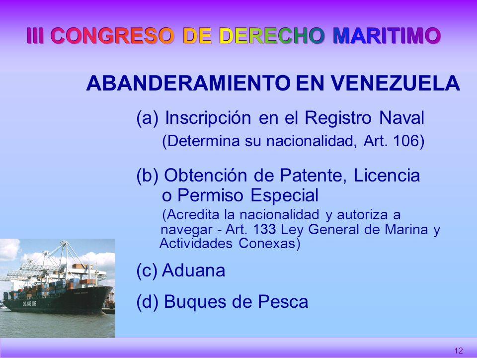 III CONGRESO DE DERECHO MARITIMO ABANDERAMIENTO EN VENEZUELA