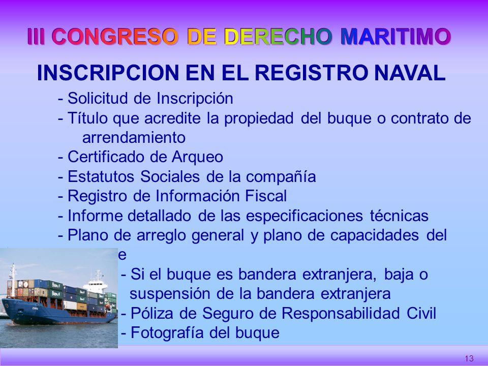III CONGRESO DE DERECHO MARITIMO INSCRIPCION EN EL REGISTRO NAVAL