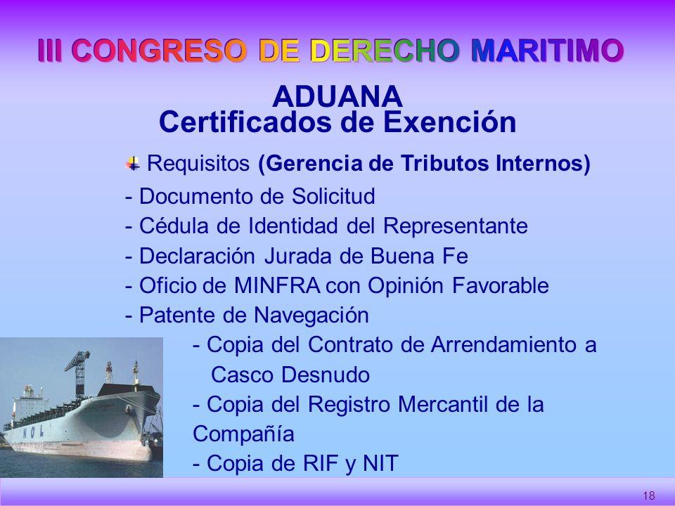III CONGRESO DE DERECHO MARITIMO Certificados de Exención