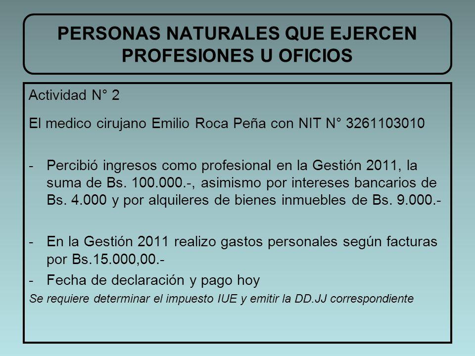 PERSONAS NATURALES QUE EJERCEN PROFESIONES U OFICIOS