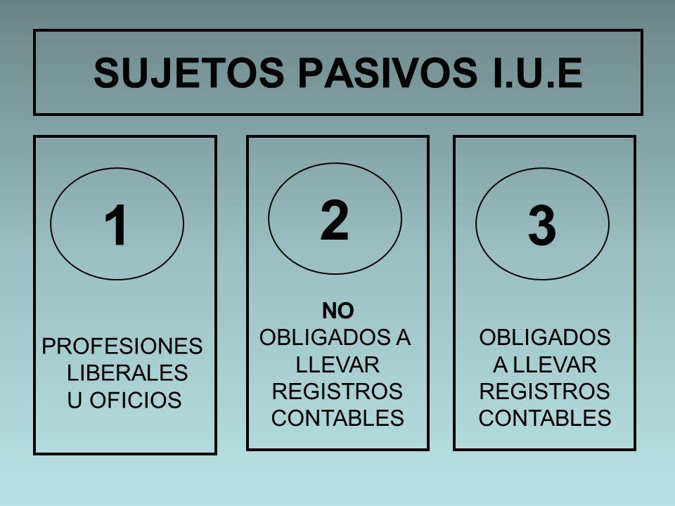 2 1 3 SUJETOS PASIVOS I.U.E PROFESIONES LIBERALES U OFICIOS NO