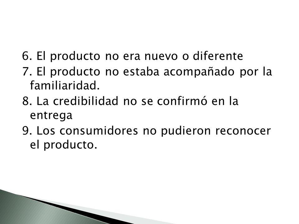 6. El producto no era nuevo o diferente 7