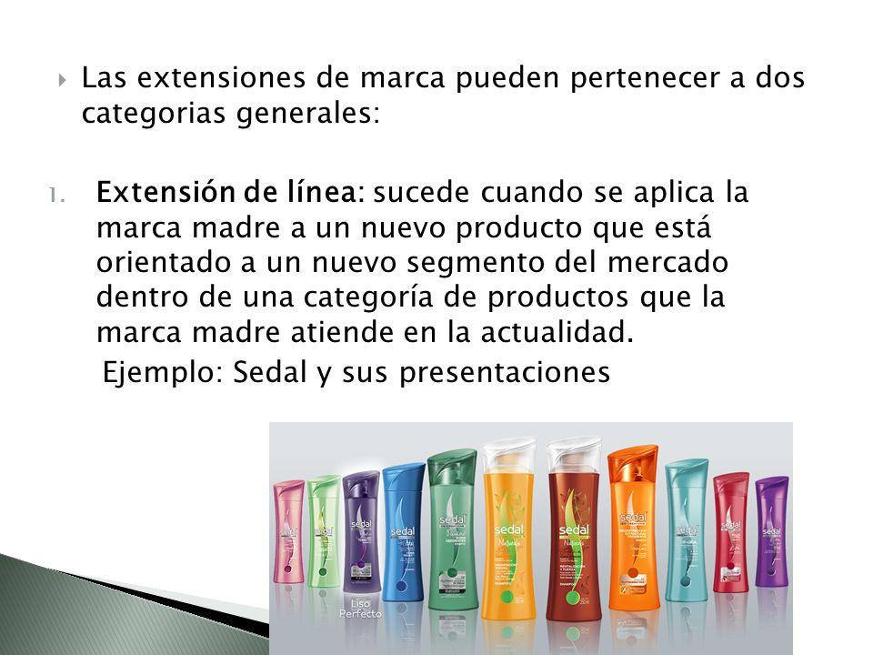 Las extensiones de marca pueden pertenecer a dos categorias generales: