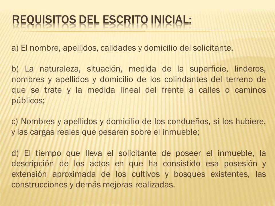 REQUISITOS DEL ESCRITO inicial: