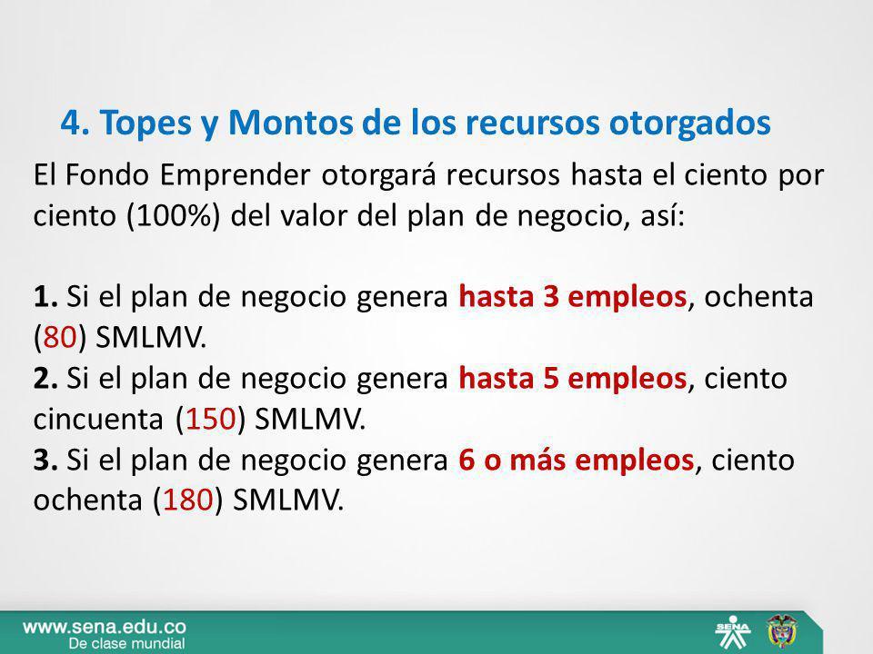 4. Topes y Montos de los recursos otorgados