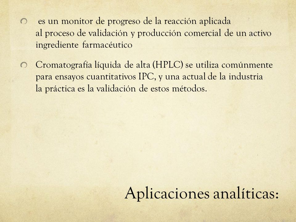 Aplicaciones analíticas: