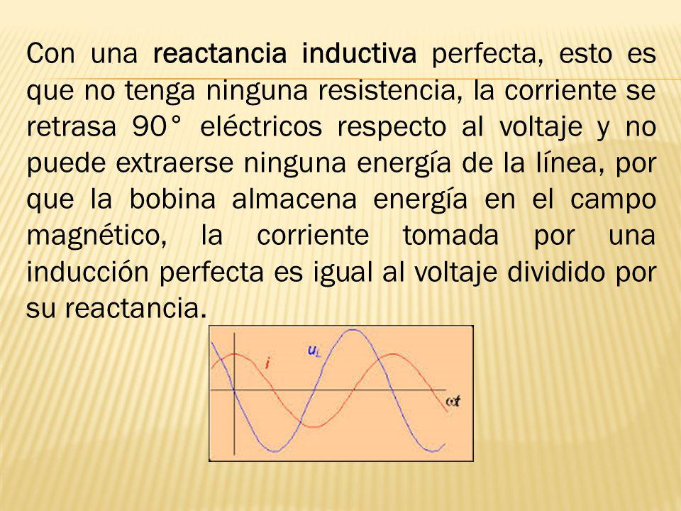 Con una reactancia inductiva perfecta, esto es que no tenga ninguna resistencia, la corriente se retrasa 90° eléctricos respecto al voltaje y no puede extraerse ninguna energía de la línea, por que la bobina almacena energía en el campo magnético, la corriente tomada por una inducción perfecta es igual al voltaje dividido por su reactancia.