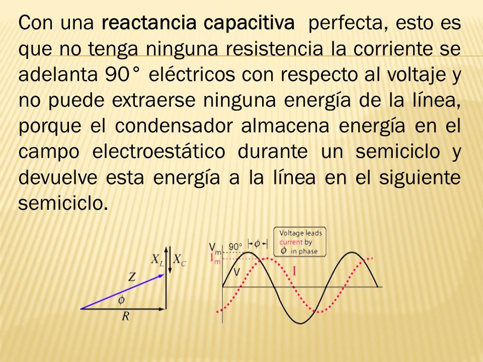 Con una reactancia capacitiva perfecta, esto es que no tenga ninguna resistencia la corriente se adelanta 90° eléctricos con respecto al voltaje y no puede extraerse ninguna energía de la línea, porque el condensador almacena energía en el campo electroestático durante un semiciclo y devuelve esta energía a la línea en el siguiente semiciclo.