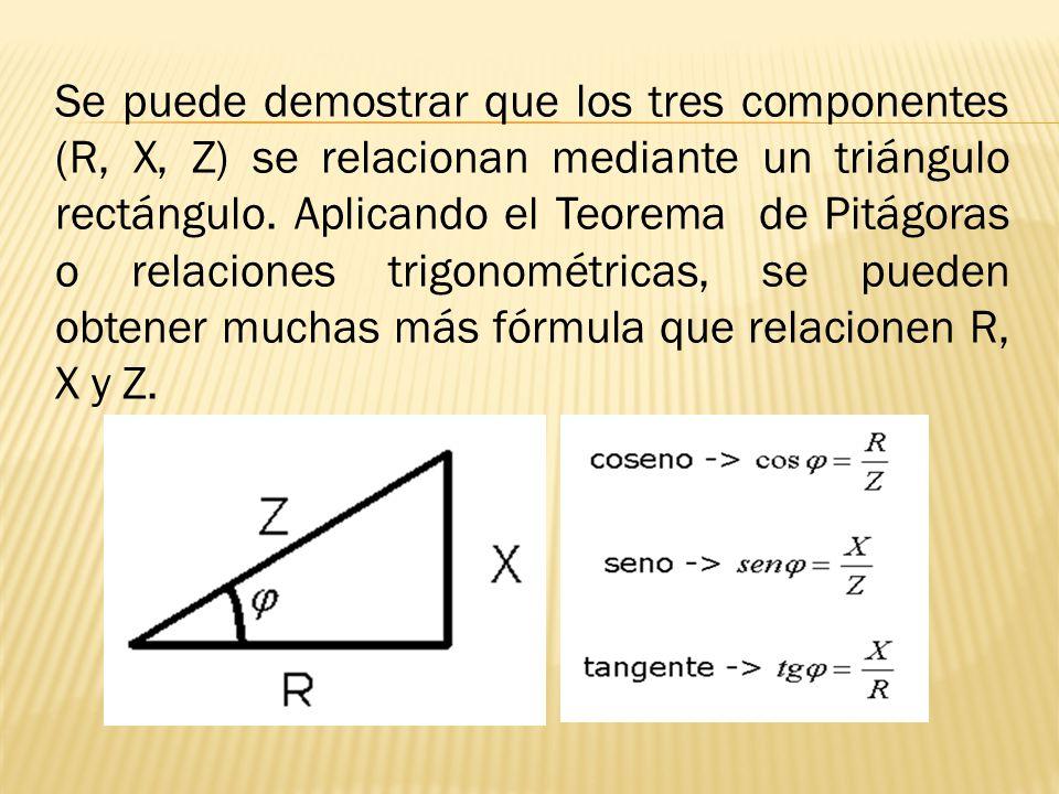 Se puede demostrar que los tres componentes (R, X, Z) se relacionan mediante un triángulo rectángulo.