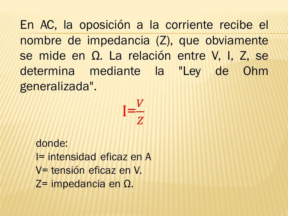 En AC, la oposición a la corriente recibe el nombre de impedancia (Z), que obviamente se mide en Ω. La relación entre V, I, Z, se determina mediante la Ley de Ohm generalizada .