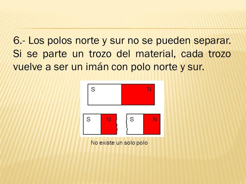 6. - Los polos norte y sur no se pueden separar