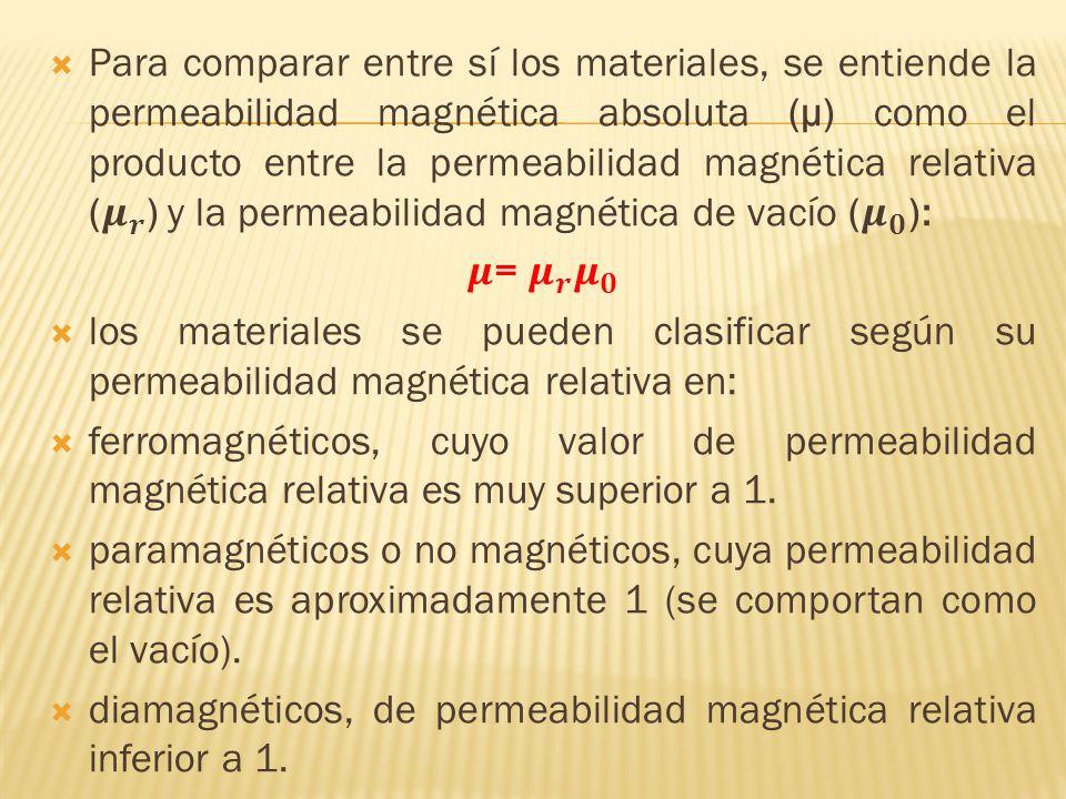 Para comparar entre sí los materiales, se entiende la permeabilidad magnética absoluta (µ) como el producto entre la permeabilidad magnética relativa ( 𝝁 𝒓 ) y la permeabilidad magnética de vacío ( 𝝁 𝟎 ):