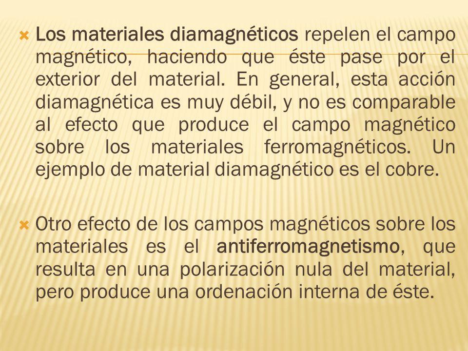 Los materiales diamagnéticos repelen el campo magnético, haciendo que éste pase por el exterior del material. En general, esta acción diamagnética es muy débil, y no es comparable al efecto que produce el campo magnético sobre los materiales ferromagnéticos. Un ejemplo de material diamagnético es el cobre.