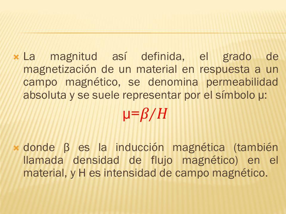 La magnitud así definida, el grado de magnetización de un material en respuesta a un campo magnético, se denomina permeabilidad absoluta y se suele representar por el símbolo μ: